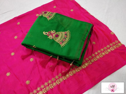 Dark Green Color Moss Chiffon Saree - VF-2040