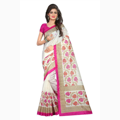 White Color Bhagalpuri Silk Saree - VF-2067