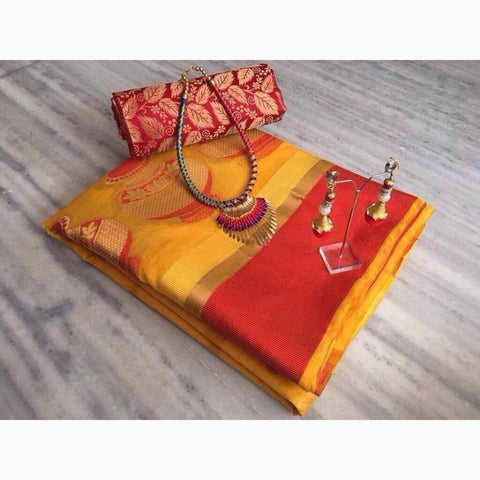 Yellow Color Cotton Saree - VF-2104