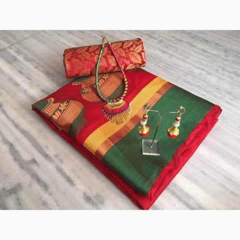 Maroon Color Cotton Saree - VF-2106