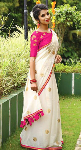 White Color Chanderi Cotton Saree - VF-2138