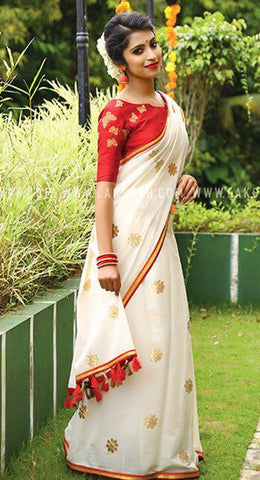 White Color Chanderi Cotton Saree - VF-2139
