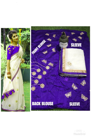White Color Chanderi Cotton Saree - VF-2143