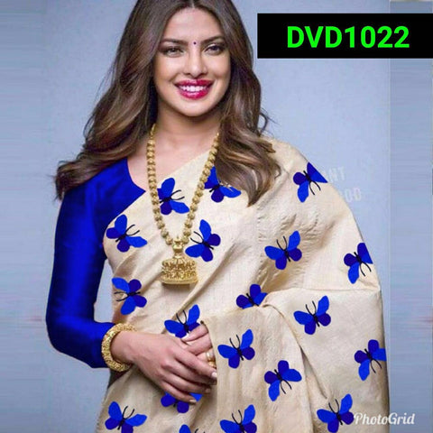 Blue and Beige Color South Silk Women's Saree - VF-5084