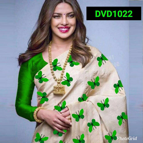 Green and Beige Color South Silk Women's Saree - VF-5085