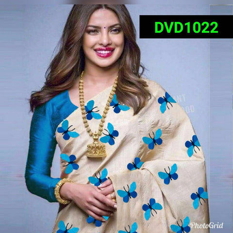 Sky Blue and Beige Color South Silk Women's Saree - VF-5086