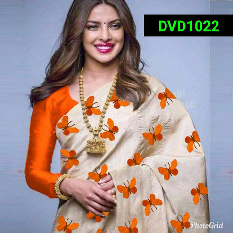 Orange and Beige Color South Silk Women's Saree - VF-5087
