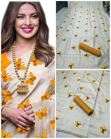 Mustard and Beige Color South Silk Women's Saree - VF-5089