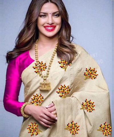 Beige Color South Silk Women's Saree - VF-5091