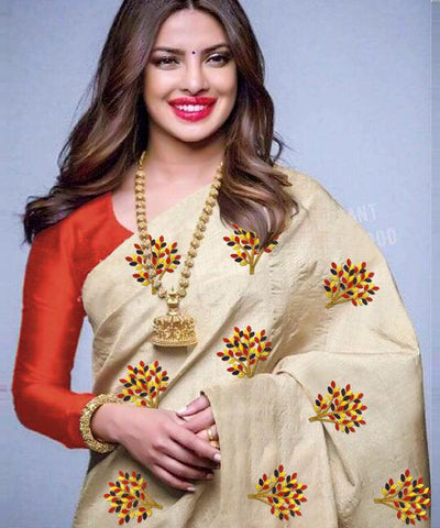 Beige Color South Silk Women's Saree - VF-5092