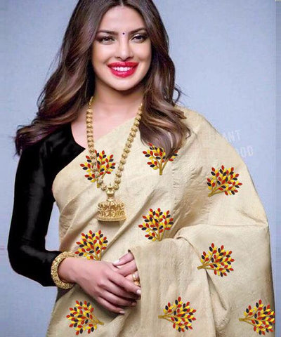 Beige Color South Silk Women's Saree - VF-5093