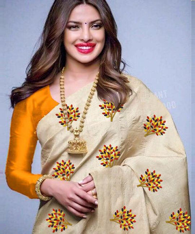 Beige Color South Silk Women's Saree - VF-5094