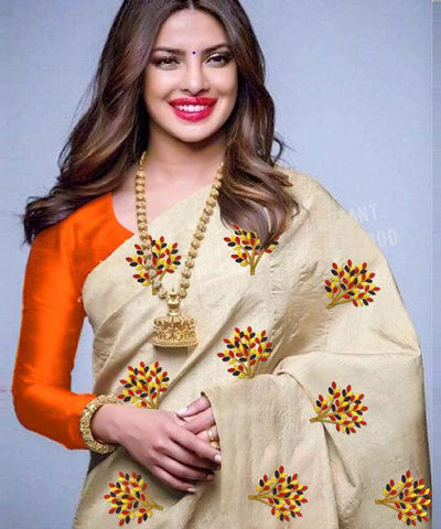 Beige Color South Silk Women's Saree - VF-5097