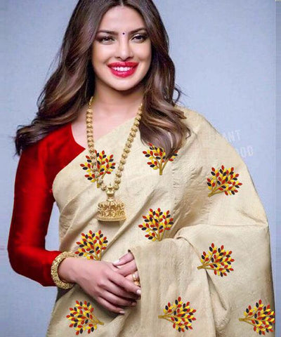 Beige Color South Silk Women's Saree - VF-5098