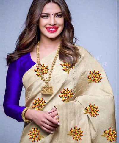 Beige Color South Silk Women's Saree - VF-5099