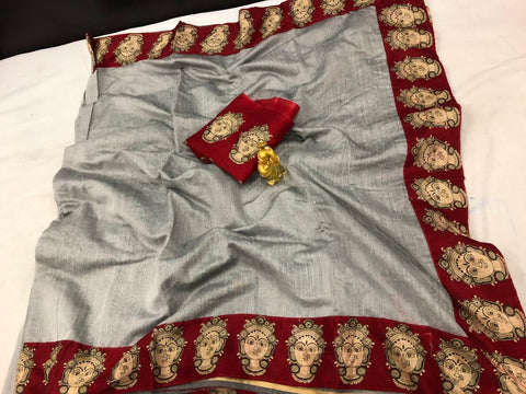 Grey Color Chanderi Cotton Women's Saree - VF-5102