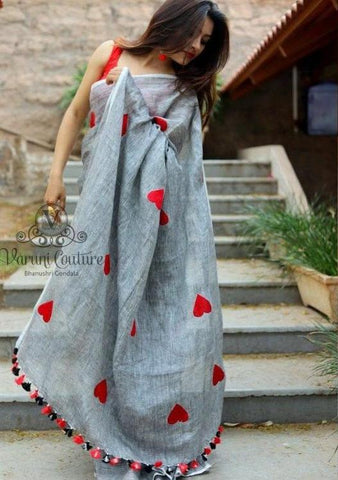 Grey Color Chanderi Cotton Women's Saree - VF-5108