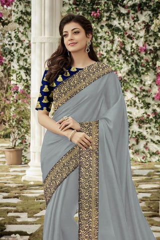 Grey Color Chanderi Cotton Women's Saree - VF-5154