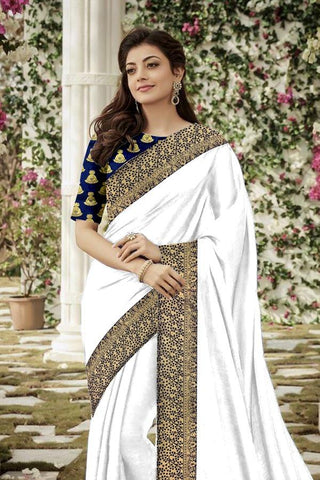 White Color Chanderi Cotton Women's Saree - VF-5155