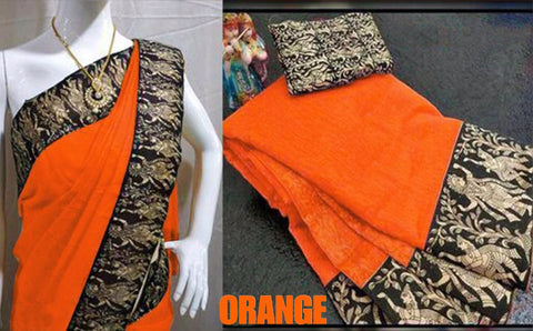 Orange Color Chanderi Cotton Women's Saree - VF-5160