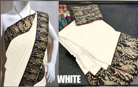 White Color Chanderi Cotton Women's Saree - VF-5166