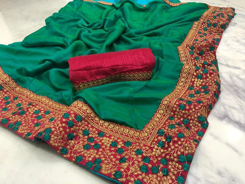 Green Color  Cotton Silk Saree - VF-BARFI-1