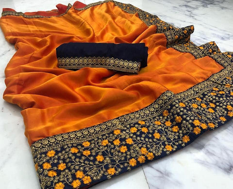 Orange Color  Cotton Silk Saree - VF-BARFI-3
