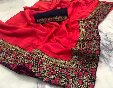 Red Color  Cotton Silk Saree - VF-BARFI-4