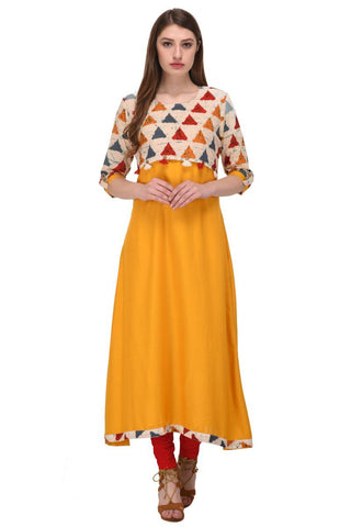 Yellow Color Viscose Rayon Stitched Kurti - VF-KU-105