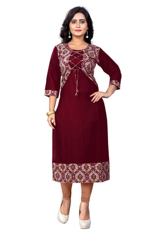 Maroon Color Viscose Rayon Stitched Kurti - VF-KU-112