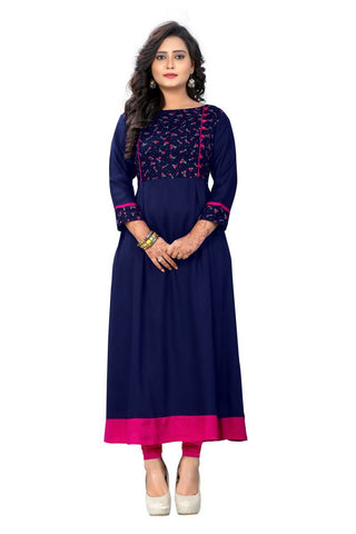 Blue Color Viscose Rayon Stitched Kurti - VF-KU-115