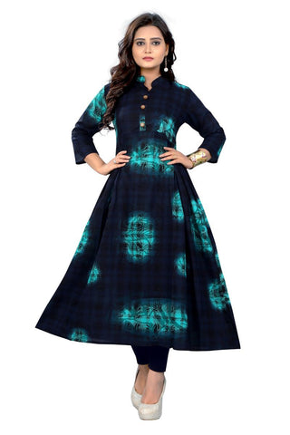 Blue Color Cotton Stitched Kurti - VF-KU-123