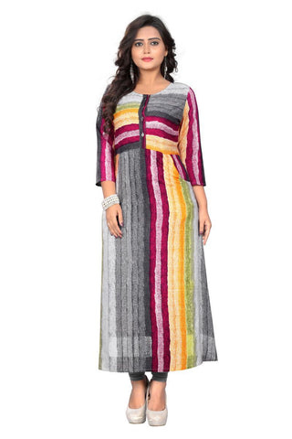 Multi Color Viscose Rayon Stitched Kurti - VF-KU-139
