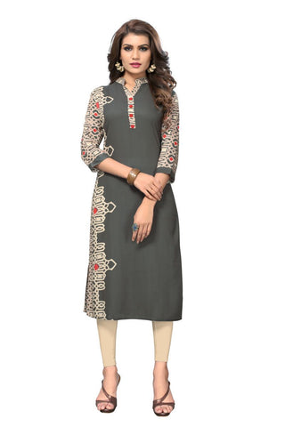 Grey Color Viscose Rayon Stitched Kurti - VF-KU-149