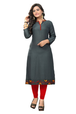 Grey Color Viscose Rayon Stitched Kurti - VF-KU-152