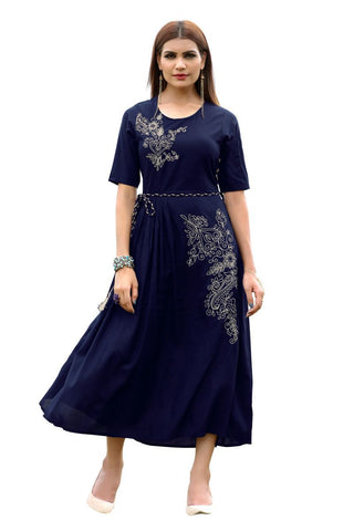 Blue Color Viscose Rayon Stitched Kurti - VF-KU-153