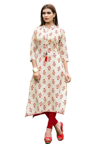 White Color Cotton Stitched Kurti - VF-KU-155