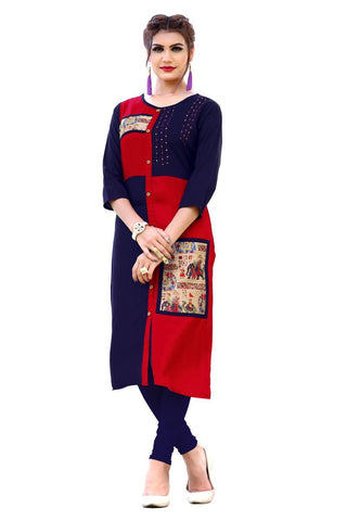 Multi Color Viscose Rayon Stitched Kurti - VF-KU-156