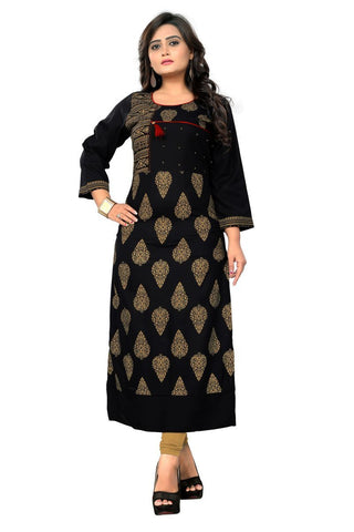 Black Color Viscose Rayon Stitched Kurti - VF-KU-160