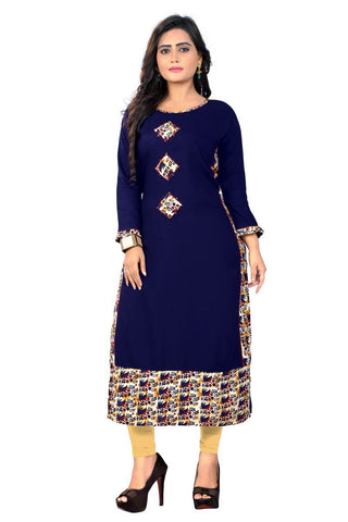 Blue Color Viscose Rayon Stitched Kurti - VF-KU-164