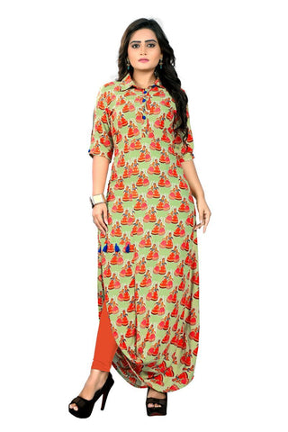 Multi Color Viscose Rayon Stitched Kurti - VF-KU-166