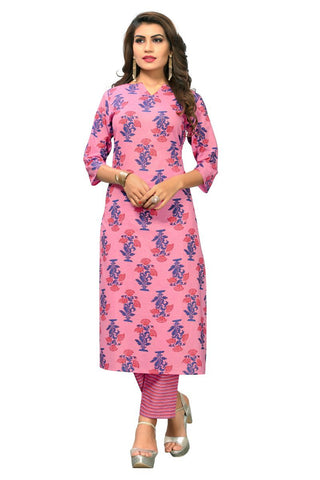 Pink Color Cotton Stitched Kurti - VF-KU-170
