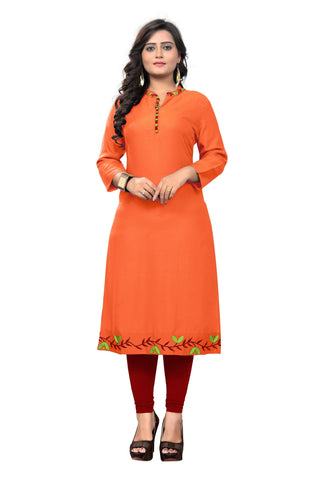 Orange Color Viscose Rayon Stitched kurti - VF-KU-177