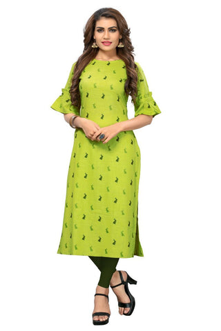 Pear Green Color Cotton Stitched kurti - VF-KU-178