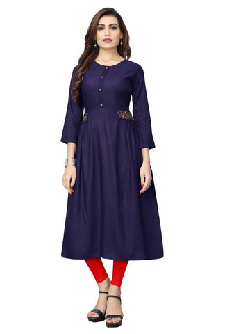 Blue Color Viscose Rayon Stitched kurti - VF-KU-193
