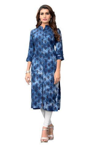 Blue Color Viscose Rayon Stitched kurti - VF-KU-207