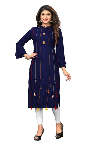 Blue Color Viscose Rayon Stitched kurti - VF-KU-210