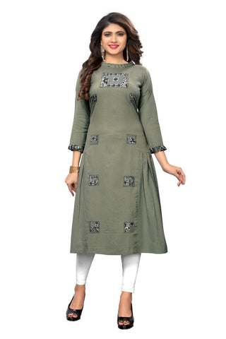 Grey Color Flax Cotton Stitched Kurti - VF-KU-215