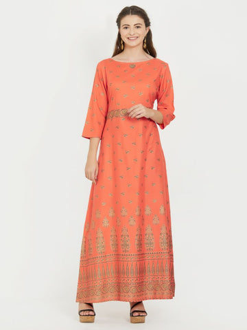 Orange Color Rayon Stitched Kurti - VF-KU-219
