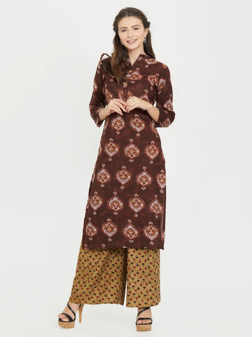Coffee Color Rayon Stitched Kurti - VF-KU-221